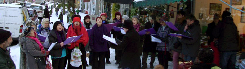 Carol singers at Christmas market
